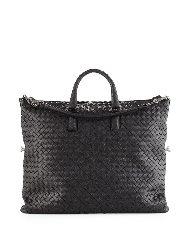 Medium Convertible Woven Tote Bag, Black   Bottega Veneta