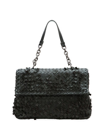 Olimpia Tobu Ruffle Shoulder Bag, Black