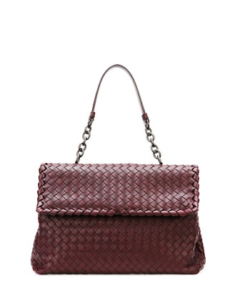 Olimpia Medium Woven Shoulder Bag, Dark Purple