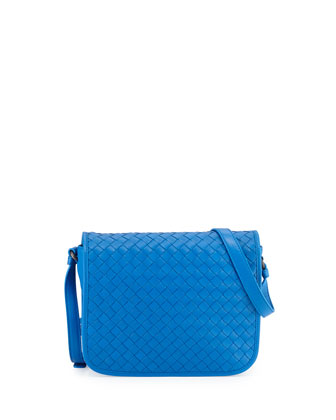 Small Woven Flap Crossbody Bag, Cobalt Blue
