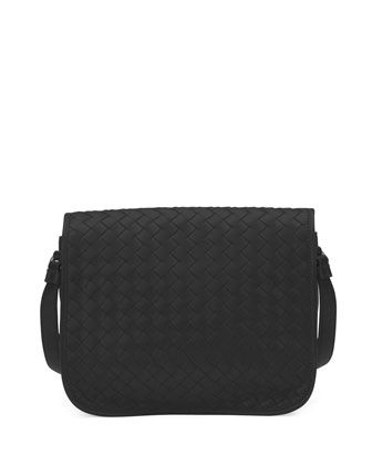 Small Woven Flap Crossbody Bag, Black