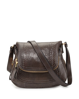 Jennifer Medium Python Shoulder Bag, Graphite