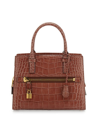Charlotte Alligator Tote Bag, Rose