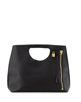 Alix Zip & Padlock Shopper Tote Bag, Black