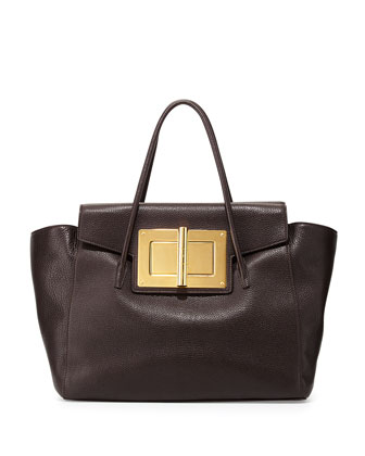 Natalia Soft Leather Turn-Lock Tote Bag, Dark Brown