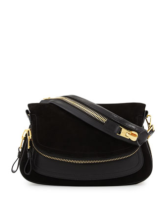 Jennifer Medium Suede/Leather Shoulder Bag, Black