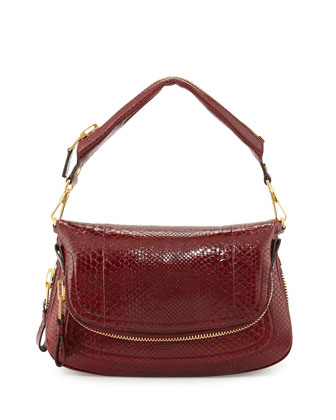 Jennifer Medium East/West Python Shoulder Bag, Red