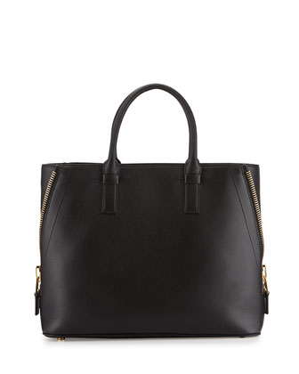Jennifer Medium Trap Calfskin Tote Bag, Black