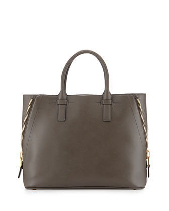 Jennifer Medium Trap Tote Bag, Gray