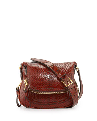 Jennifer Mini Python Crossbody Bag, Brown