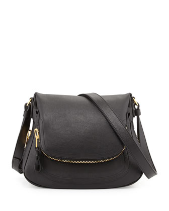 Jennifer Calfskin Crossbody Bag, Black
