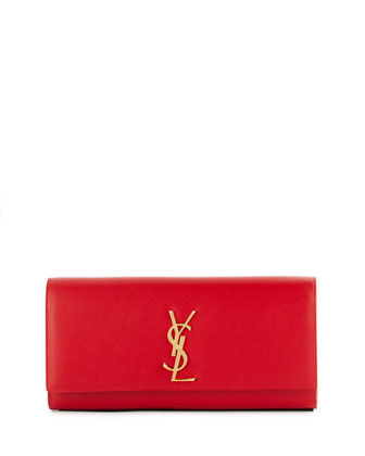 Monogram Calfskin Clutch Bag, Red