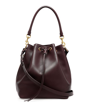 Medium Bucket Shoulder Bag, Bordeaux
