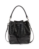 Medium Croc-Print Bucket Shoulder Bag, Black