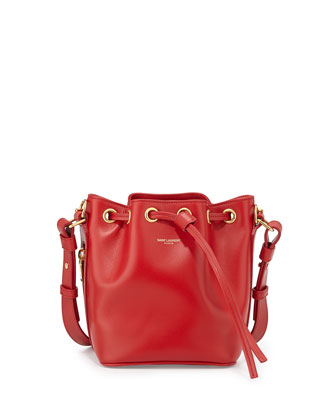 Small Bucket Crossbody Bag, Red