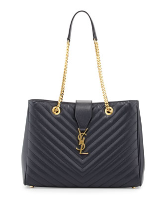 Monogramme Matelasse Shopper Bag, Navy