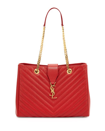 Monogram Matelasse Shopper Bag, Red