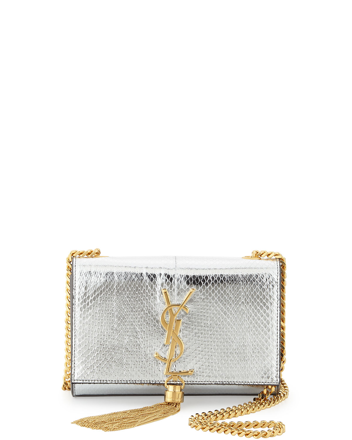 Yves Saint Laurent Cassandre Small Metallic Python Crossbody Bag, Python, Women's, Size: S, Silver