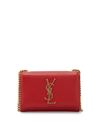 Cassandre Small Pebbled Leather Logo Crossbody Bag, Red
