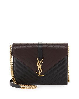 Monogramme Envelope Chain Shoulder Bag, Black/Bordeaux