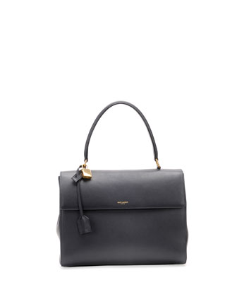 Moujik Large Calfskin Satchel Bag, Navy