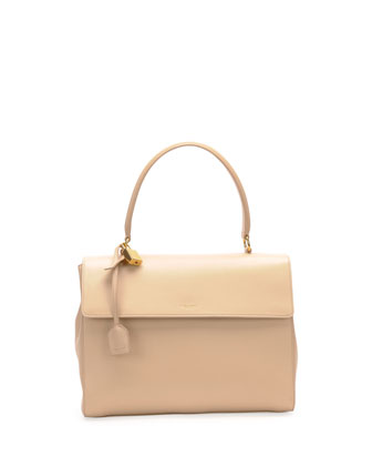 Moujik Large Calfskin Satchel Bag, Nude