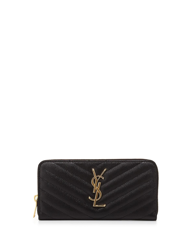 Monogramme Matelasse Zip Wallet, Black   Saint Laurent