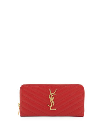 Monogramme Matelasse Zip Wallet, Red