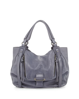 Jonnie Leather Hobo Bag, Ocean Blue