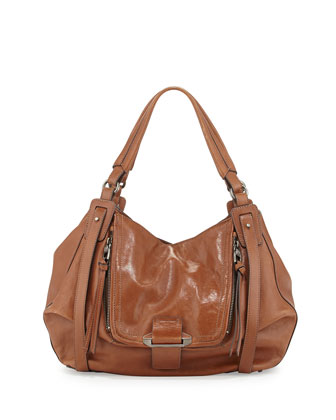 Jonnie Leather Hobo Bag, Earth