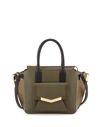 Jo Mini Saffiano Three-Tone Tote Bag, Militaire Multi