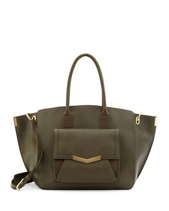 Jo Saffiano Leather Tote Bag, Militaire