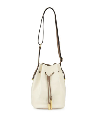 City Casual Leather Bucket Bag, Chalk Multi