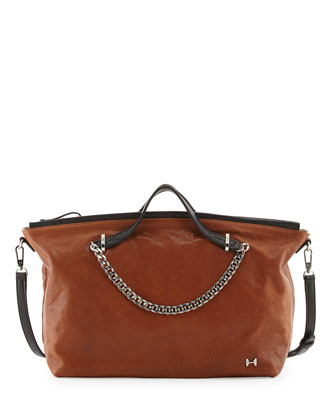 Leather Chain-Trim Satchel Bag, Caramel Multi