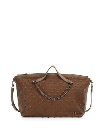 Stud-Embossed Satchel Bag, Dark Ash