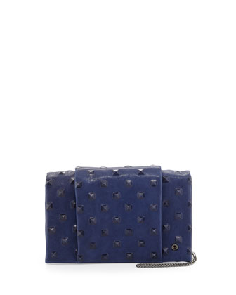 Stud-Debossed Wallet on Chain, Bright Indigo