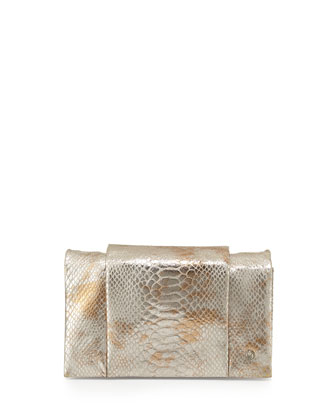 Snake-Print Leather Wallet on a Chain