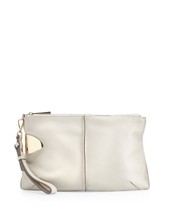 Large Leather Zip Wristlet, Chalk