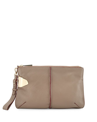 Large Leather Zip Wristlet Bag, Dark Ash