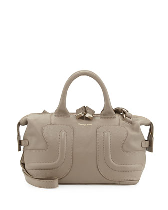 Kay Leather Satchel Bag, Stone