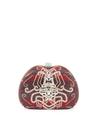 Curved Crystal Ornament Pouch, Burgundy