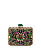 Jeweled Cabochon Rectangle Clutch Bag