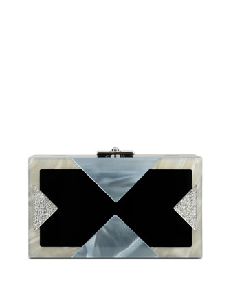 Alicia Lucite Clutch Bag, Silver