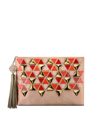 Celia Large Satin Triangle Clutch Bag, Blush
