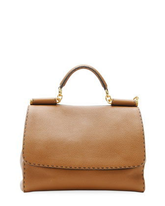 Miss Sicily Large Leather Satchel Bag, Camel