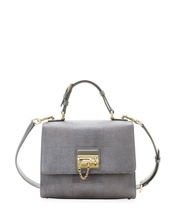 Monica Lizard Lock Satchel Bag, Light Gray