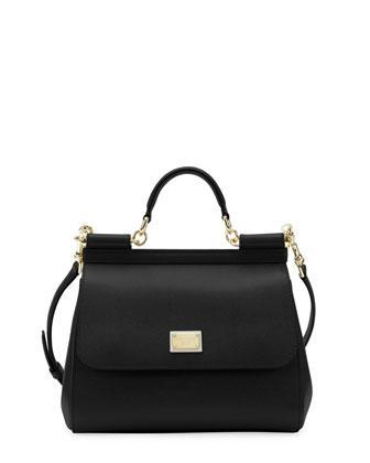 Miss Sicily Leather Satchel Bag, Black