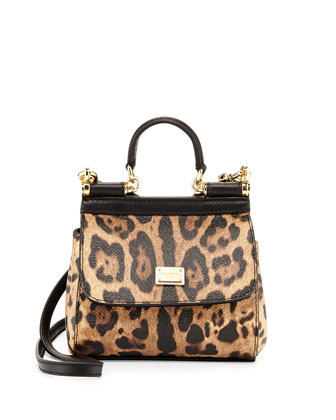 Miss Sicily Mini Leopard-Print Crossbody Bag, Nude/Black