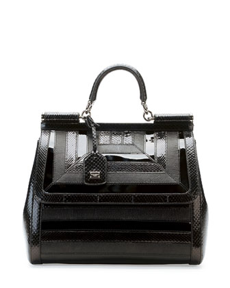 Miss Sicily Snake & Lizard Satchel Bag, Black