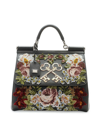 Miss Sicily Embroidered Keys Satchel Bag, Black